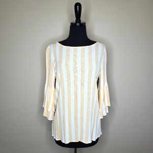 🌵3/$25 ODDY Yellow White Stripe Bell Sleeve Top